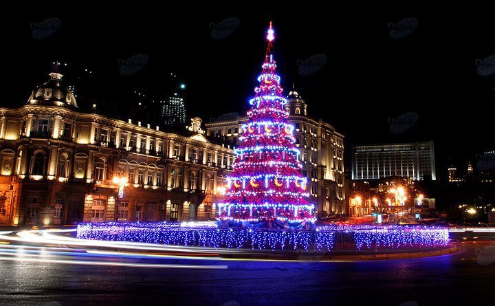 azerbaijan, baku, beauty, christmas tree, lights