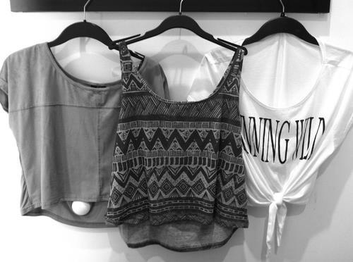 aztec, black and white, crop tops, fashion, hangers