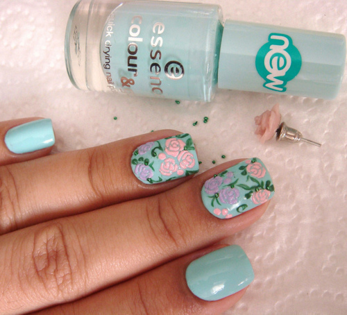 baby blue, blue, earring, flowers, nails