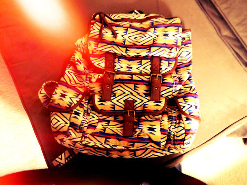 backpack, tribal, tribal print, urban outfitters