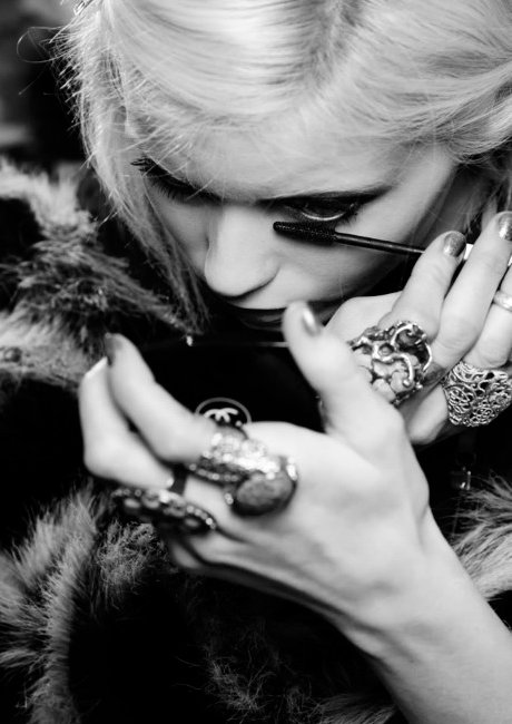 backstage, beautiful, black and white, chanel, eyes