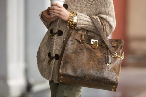 bag, baggy, bracelets, fashion, hand bag, leather, light brown, street style, stylish, sweater, watch