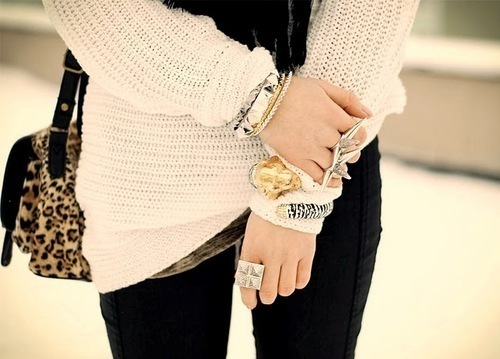 bag, bags, bracelet, bracelets, fashion, fashion photography, fashionable, jewelry, leopard print, pants, ring, rings, sweater, sweaters