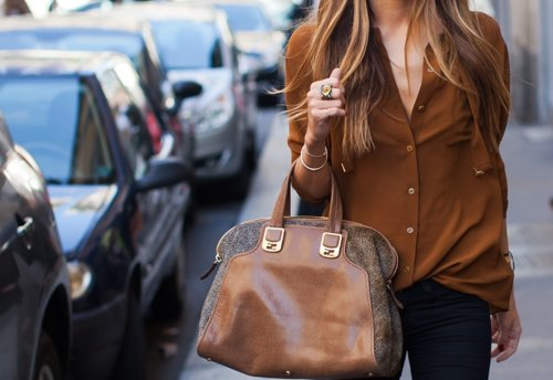 bag, blonde, blouse, fashion, girl