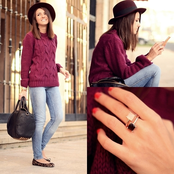 bag, brown, fashion, gilr, girl, hair, hat, leopard, lifestyle, lookbook, red, ring, rings purple hat, shoes, smile