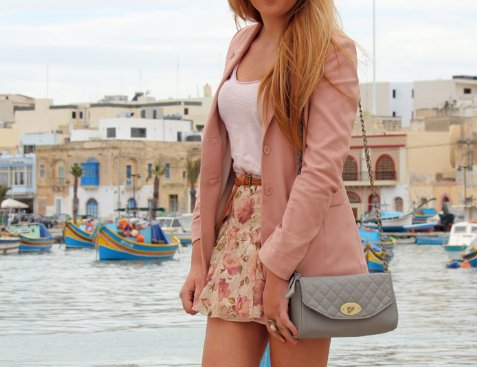 bag, clothes, clothing, floral, girl, jacket, ocean, pretty, skirt, style