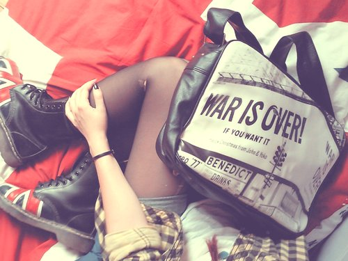 bag, dr martens, union jack, war is over