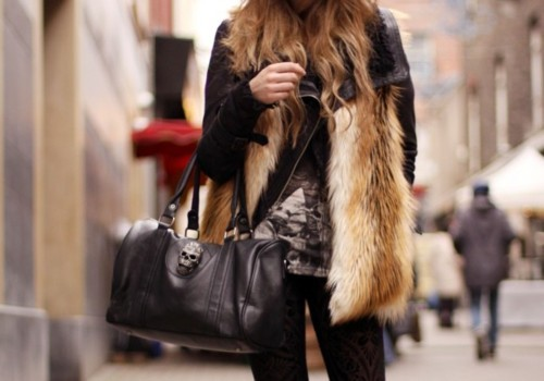 bag, fashion, fur, girl, hair, jacket, style