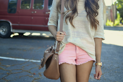 bag, fashion, girl, hair, love, nice, shorts, summer, watch, wavy