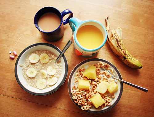 balanced breakfast, banana, breakfast, cereal, coffee