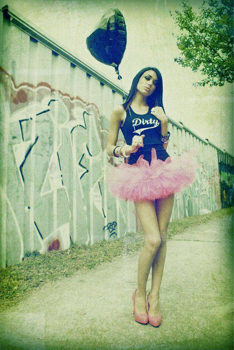 balloon, black, brunette, dirty shirty, girl, girly, graffiti, hair, heart, heels, lady, legs, model, outside, pink, shoes, swag, swagger, tank, tutu, wall, woman
