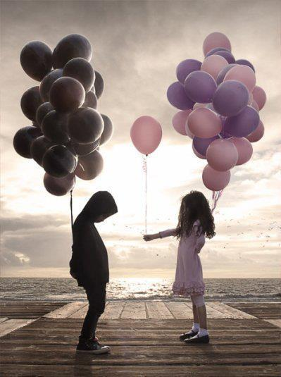 baloons, child, children, happy, outside