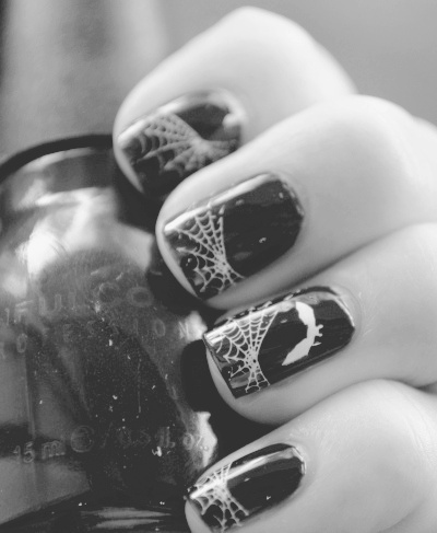b&w, bat, black and white, black nail, black nails, finger, fingers, hand, nail, nail art, nails, spider, spider web