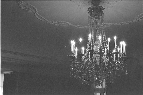 b&w, black & white, black and white, chandelier, crystals