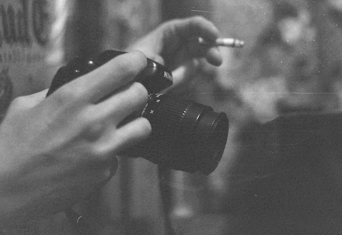 b&w, black and white, camera, cigarette, hand