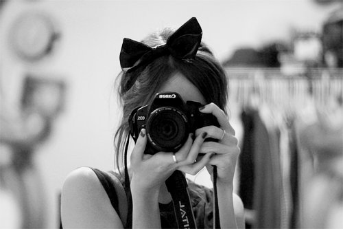 b&w, black and white, camera, cute, fashion