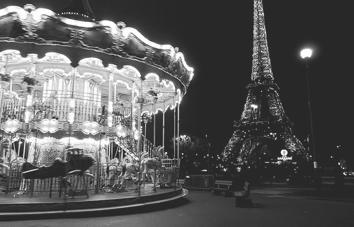 b&w, black and white, carousel, city, city lights, eifel, france, light, lights, night, night lights, paris