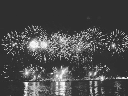 b&w, black and white, city, city lights, fire, fires, firework, fireworks, light, lights, new year, night, night lights, reveillon