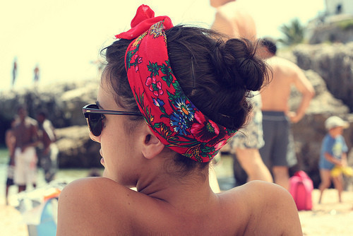 bandana, brunette, girl, glasses, hair