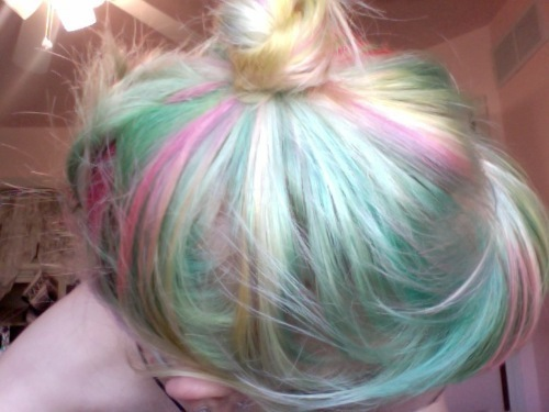 bangs, blond, blue, bun, cute, dyed, girl, hair, light green, pink hair