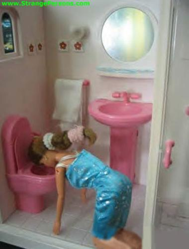 barbie, barbies, barf, brunette, doll, drunk, funny, lol, photography, pink, pink toilet, puke, throw up, toilet