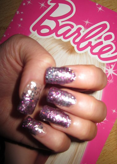 barbie, glitter, lilac, long nails, nails, pink, purple