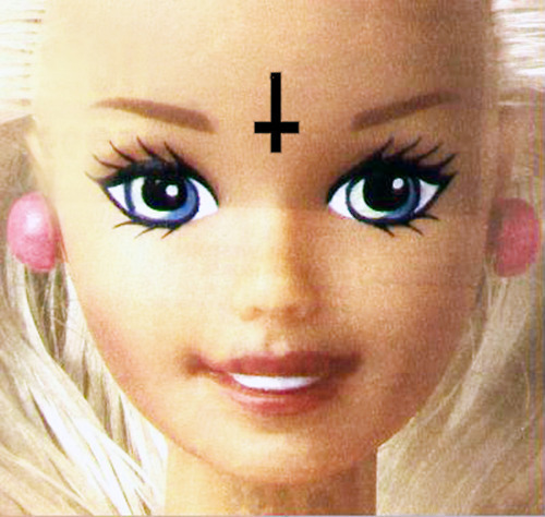 barbie, inverted cross, original, photography, punk
