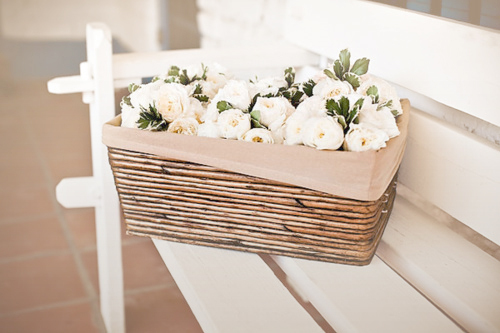 basket, bench, flowers, lovely, pastel, pretty, roses, soft colours, white