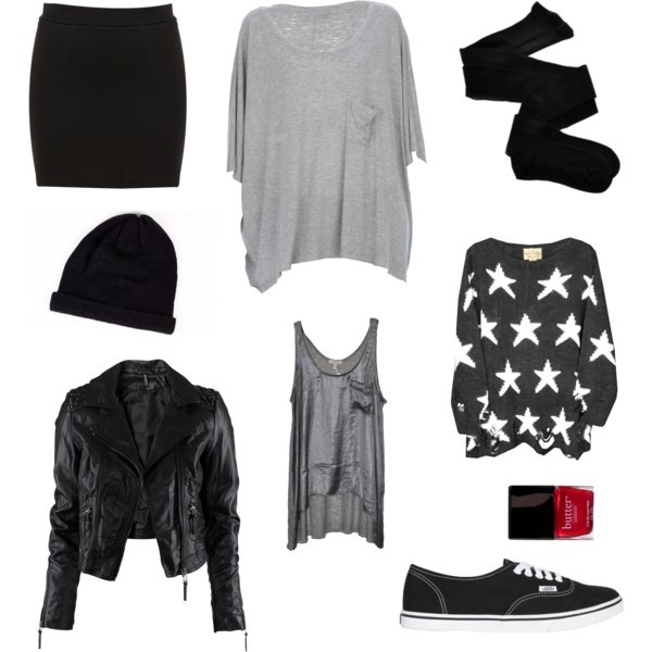 beanie, butter, clothes, h&m, leather jacket, nail polish, outfit, polyvore, set, skirt, tee, tights, topshop, vans, wildfox, wildfox couture