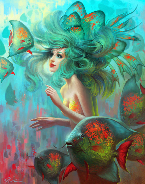 beautiful, beauty, blue, blue hair, color-drops, cute, deaviantart, deviant art, digital art, fashion, fins, fish, green, love, mermaid, ocean, photography, pretty, red, scales, shine, sparkle, underwater, viccolatte, water