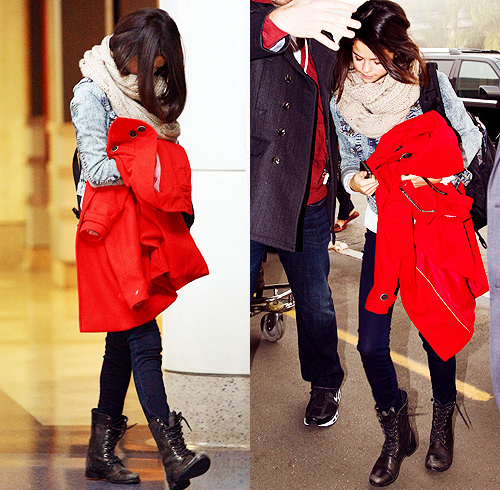beautiful, black boots, boots, flawless, girl, jacket, perfect, pretty, red, red jacket, selena gomez