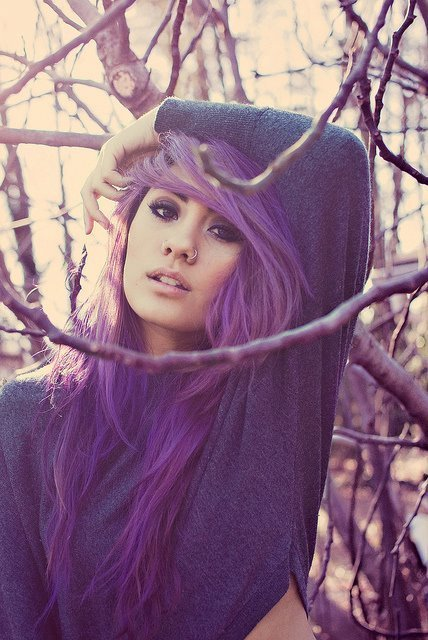 beautiful, cool, eyes, fashion, girl, hair, model, pretty, purple, sexy, style