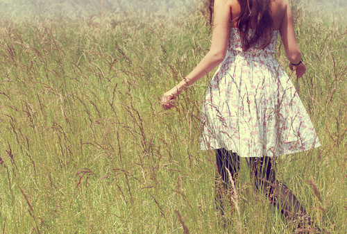 beautiful, cute, dress, fashion, fields, flowers, flowery, girl, nature, pretty, running