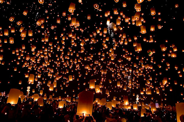 beautiful, cute, khom loy, lanterns, lights