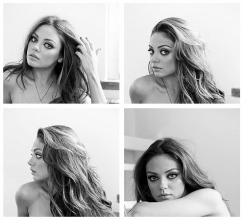 beauty, black and white, girl, mila, mila kunis