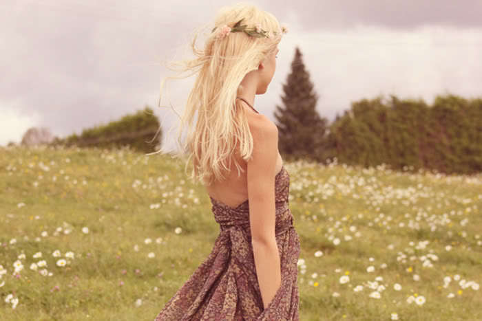 beauty, blonde, dress, fashion, flowers