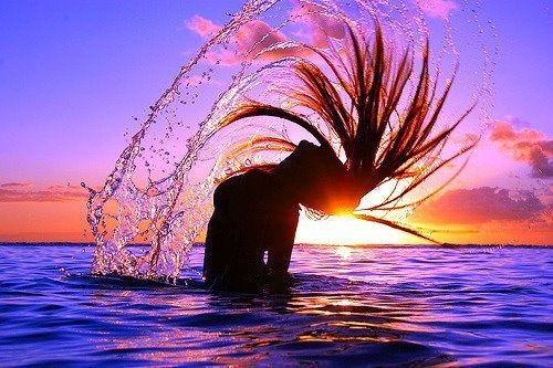beauty, cool, hair flip, summer, sunset