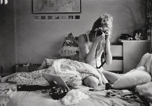 bed, bedroom, black and white, blonde, camera, girl, laptop, lazy, messy, mourning, photo, photography, room