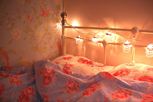 bed, bedroom, glamour, interior, lights