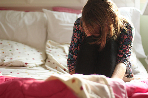 bed, brown hair, brunette, cry, crying, girl, photography, pillow, room, sad