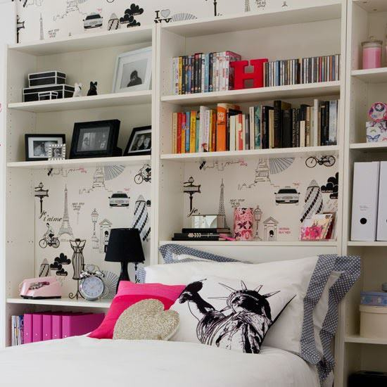 bedroom, books, pictures, shelves, wallpaper