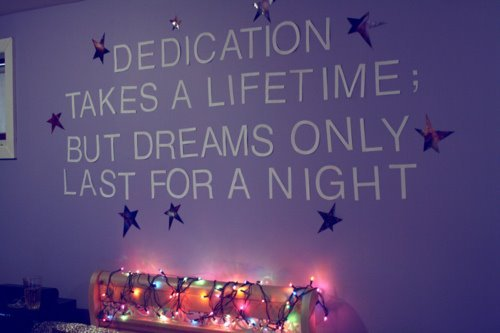bedroom wall, dedication, dreams, lifetime, lights, night, quote, stars, text, typo, typography, wall, words