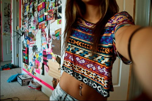 belly button, girl, poster