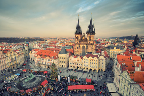 big city, buildings, capital, christmas tree, city, clouds, czech, czech republic, europe, gorgeous, houses, market, markets, prague, sculpture, sky