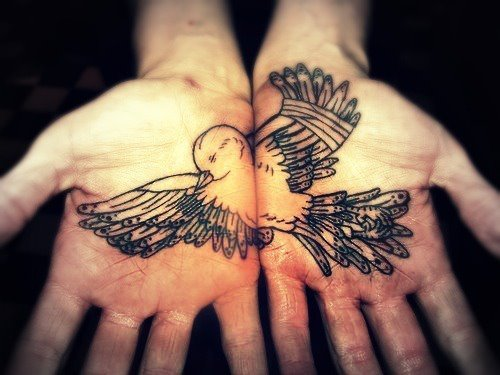 bird, hands, man, pretty, tattoo