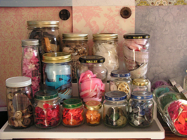 bits and bobs, cute, inspiration, jars, sewing