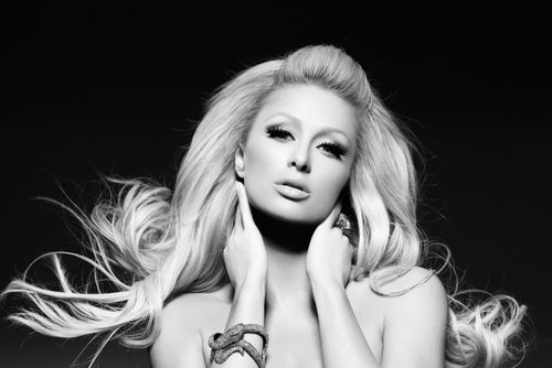 black & white, fashion, girl, lips, paris hilton
