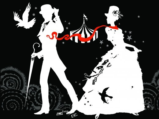 black and white, cards, carnival, circus, crow