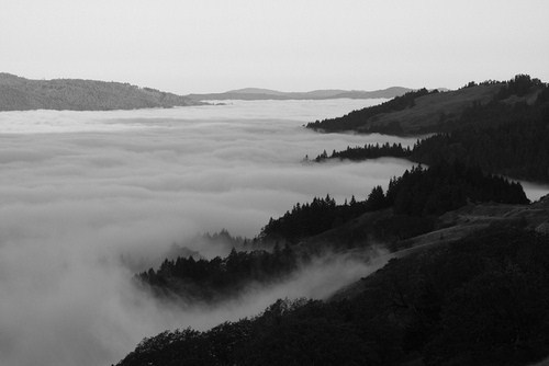 black and white, clouds, cool, fog, landscape, mountains, vintage