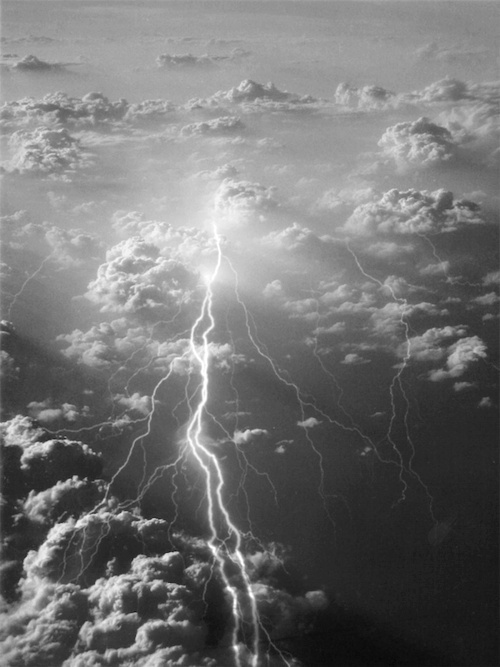 black and white, clouds, lightning, sky, thunder, vintage